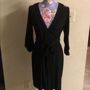Calvin Klein classic black wrap dress size 4 NWOT